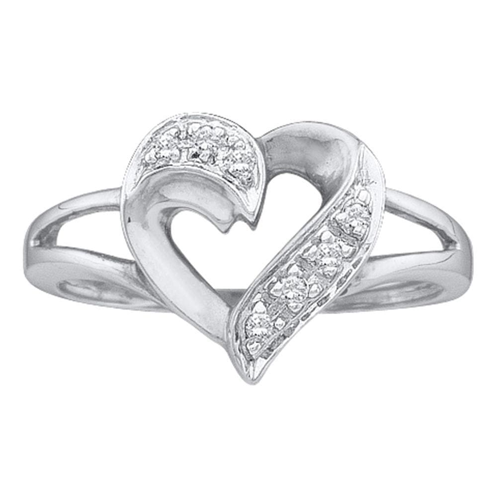 14kt White Gold Womens Round Diamond Split-shank Heart Ring 1/20 Cttw