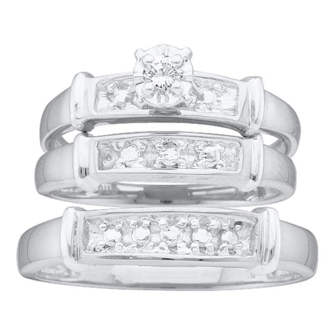 14kt White Gold His & Hers Round Diamond Solitaire Matching Bridal Wedding Ring Band Set 1/10 Cttw