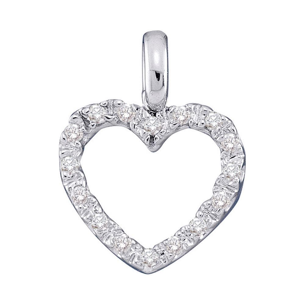 14kt White Gold Womens Round Diamond Heart Pendant 1/10 Cttw