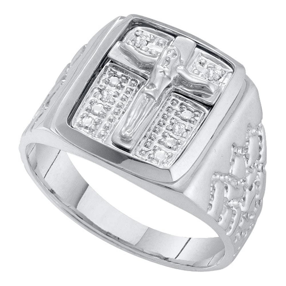 10kt White Gold Mens Round Diamond Crucifix Jesus Cross Ring 1/20 Cttw