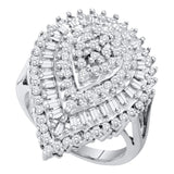 10kt White Gold Womens Round Baguette Diamond Teardrop Cluster Ring 1.00 Cttw