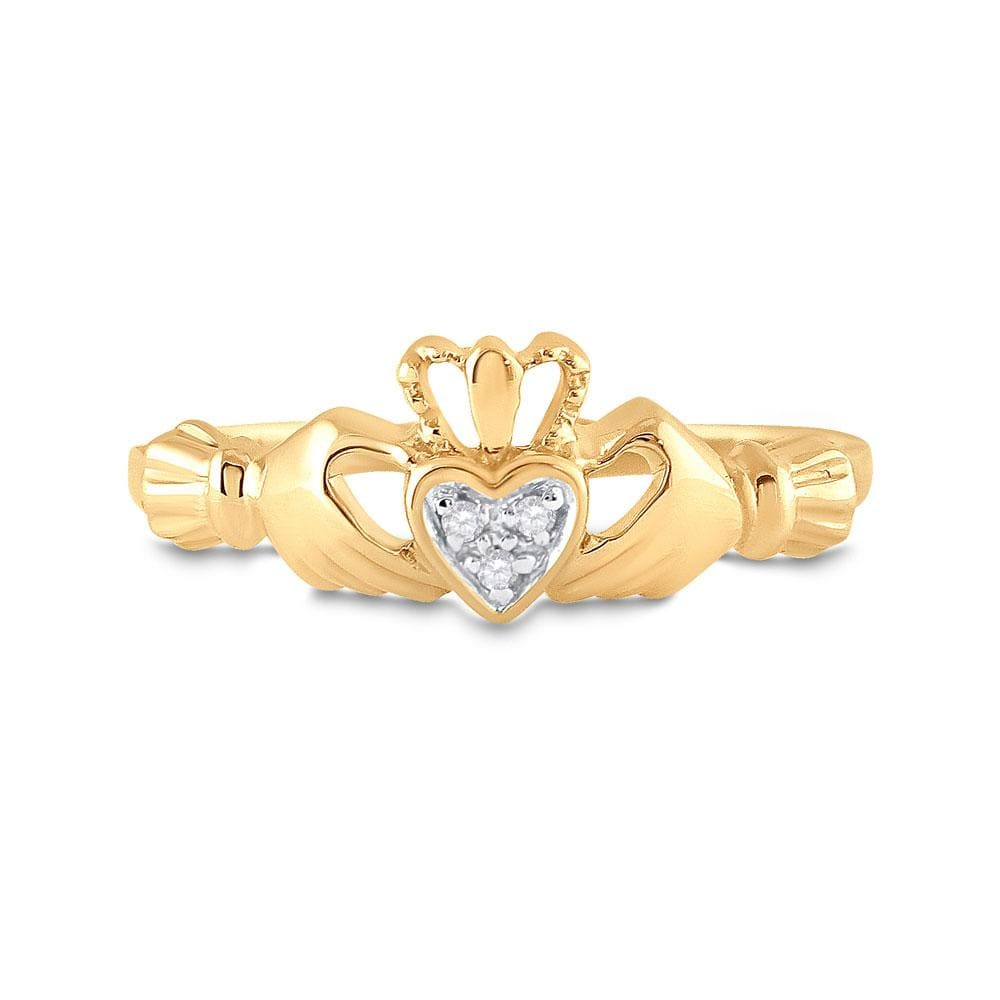 14kt Yellow Gold Womens Round Diamond Claddagh Heart Ring .02 Cttw