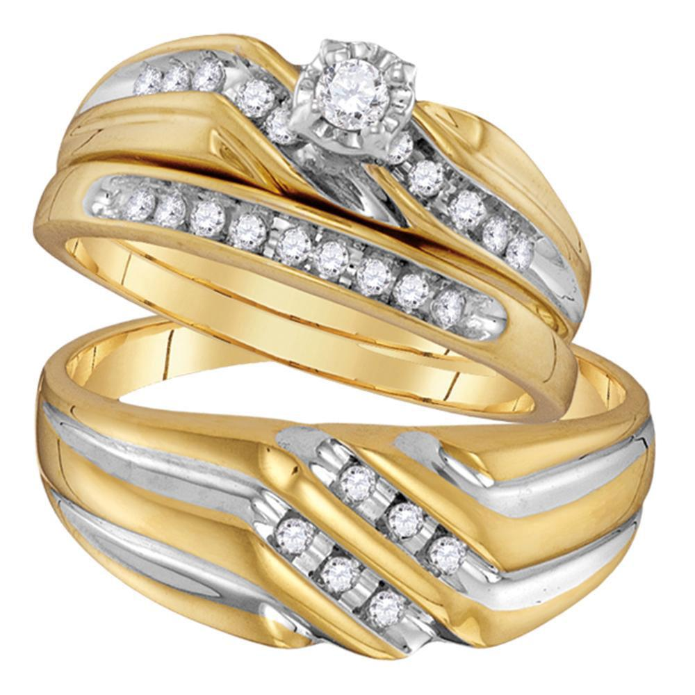14kt Yellow Gold His Hers Round Diamond Solitaire Matching Wedding Set 1/3 Cttw