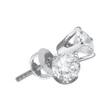 14kt White Gold Unisex Round Diamond Solitaire Stud Earrings 2.00 Cttw