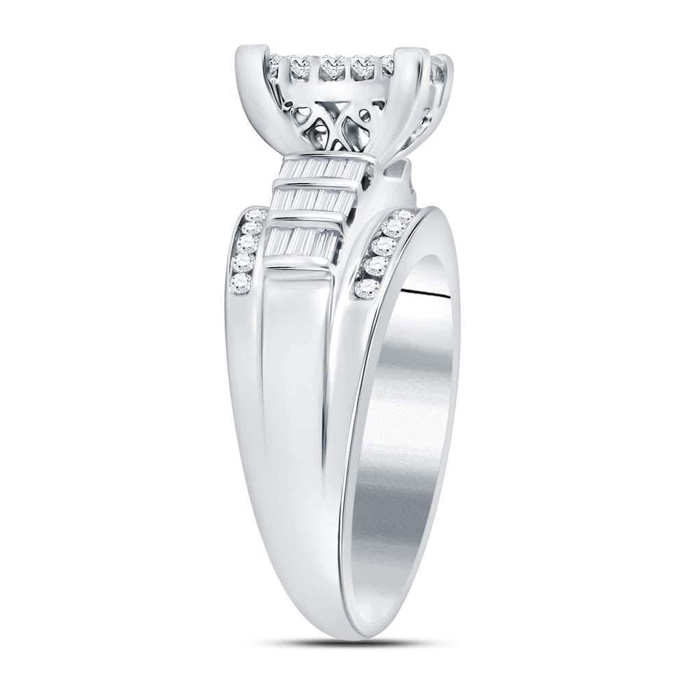 14kt White Gold Womens Princess Diamond Cluster Bridal Wedding Engagement Ring 1.00 Cttw - Size 5