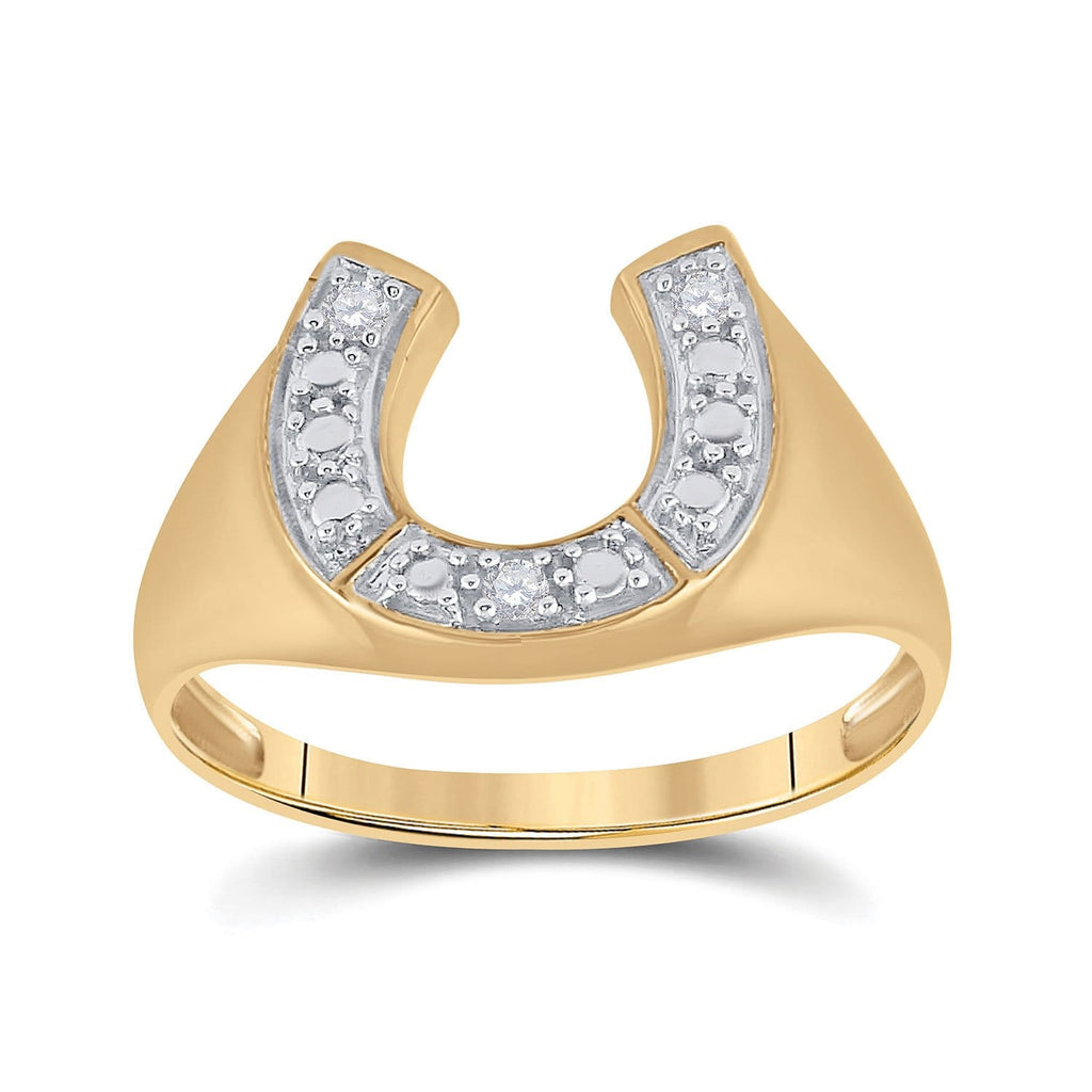 10kt Yellow Gold Mens Round Diamond Lucky Horseshoe Ring 1/20 Cttw