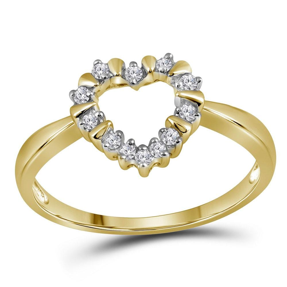 10kt Yellow Gold Womens Round Diamond Heart Outline Ring 1/8 Cttw