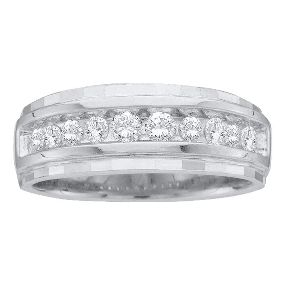 10kt White Gold Mens Round Channel-set Diamond Wedding Band Ring 1/2 Cttw