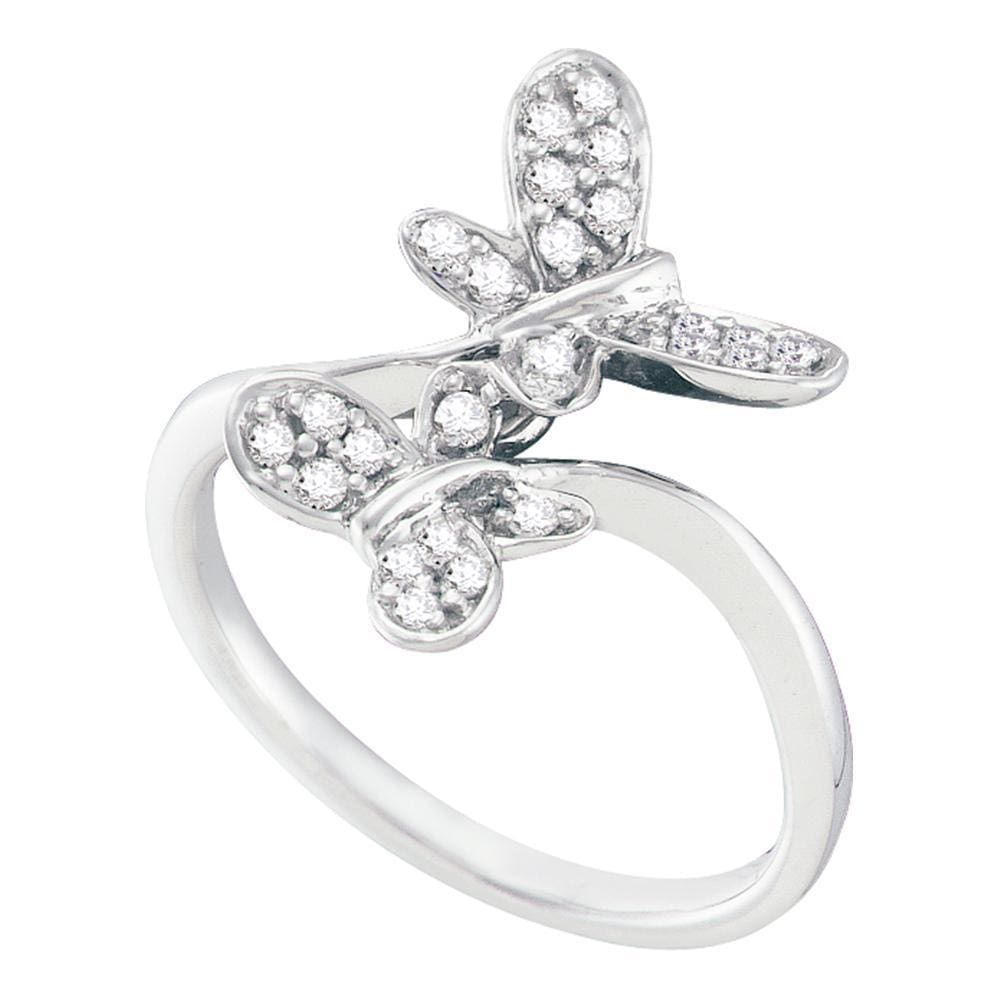 14kt White Gold Womens Round Diamond Butterfly Bug Bypass Ring 1/4 Cttw