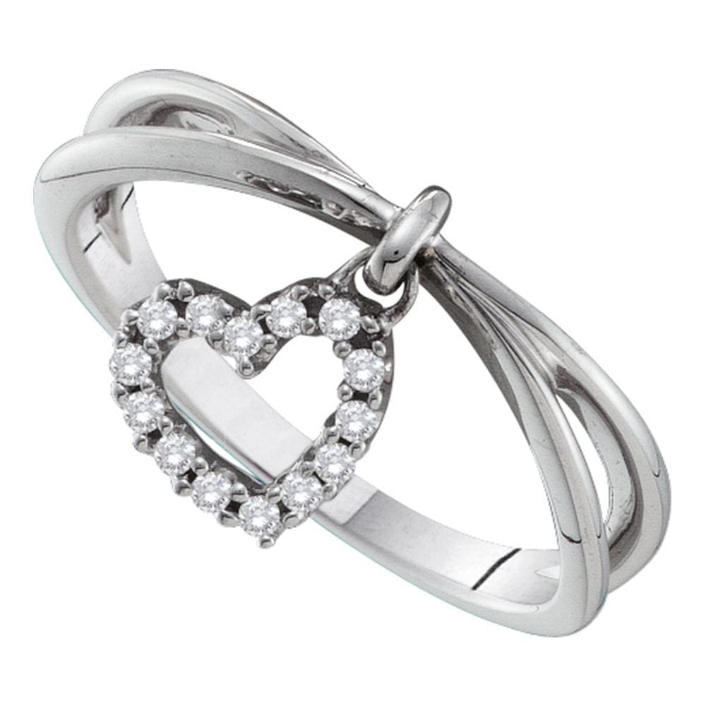 14kt White Gold Womens Round Diamond Heart Dangle Band Ring 1/10 Cttw