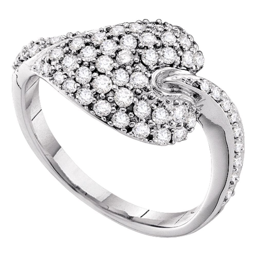 14kt White Gold Womens Round Diamond Leaf Cluster Ring 5/8 Cttw