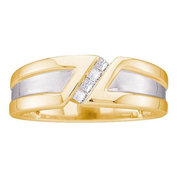 14kt Yellow Gold Mens Princess Diamond Single Row Two-tone Wedding Band Ring 1/6 Cttw