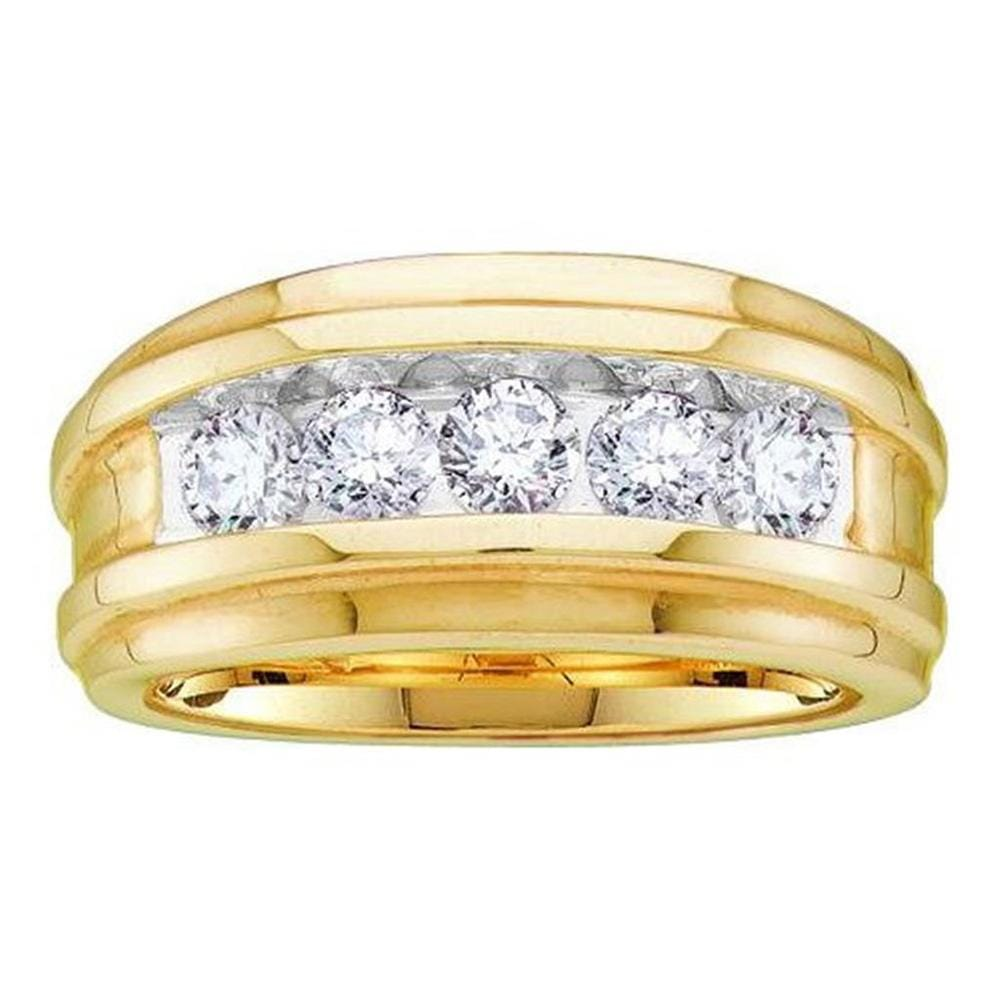 14kt Yellow Gold Mens Round Diamond Wedding Channel Set Band Ring 1 Cttw