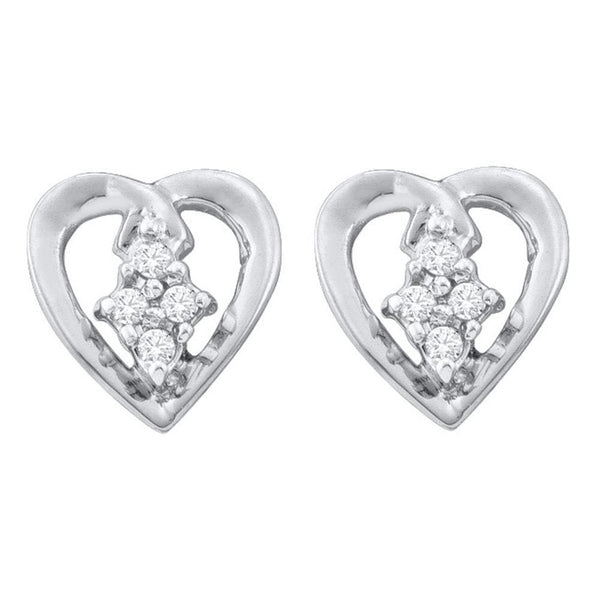 10kt White Gold Womens Round Diamond Heart Cluster Stud Earrings 1/12 Cttw