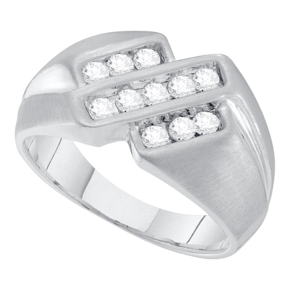 10kt White Gold Mens Round Channel-set Diamond Triple Row Band Ring 1/2 Cttw