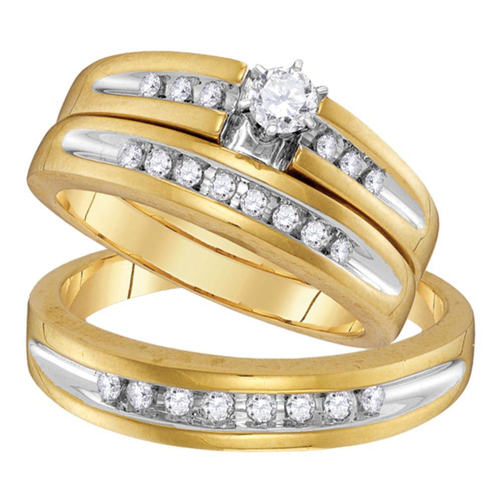 10kt Yellow Gold His Hers Round Diamond Solitaire Matching Wedding Set 1/2 Cttw