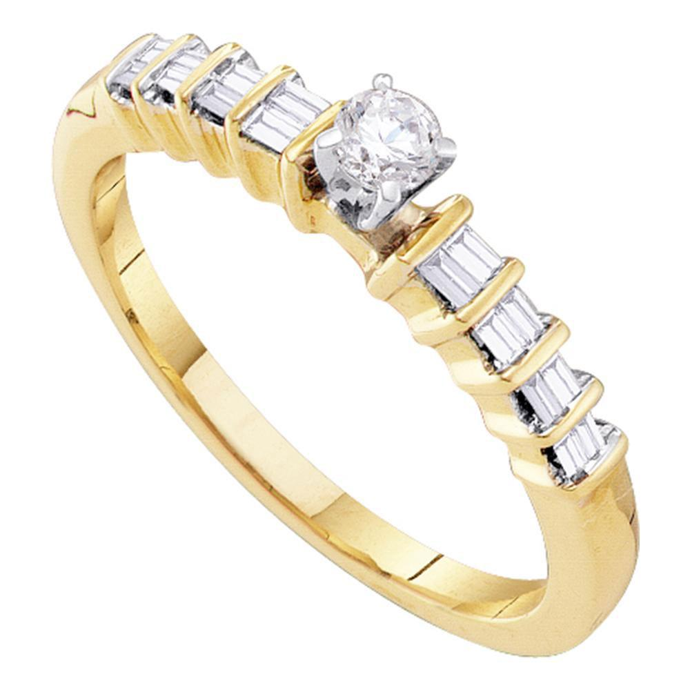 10kt Yellow Gold Womens Round Diamond Solitaire Promise Bridal Ring 1/4 Cttw