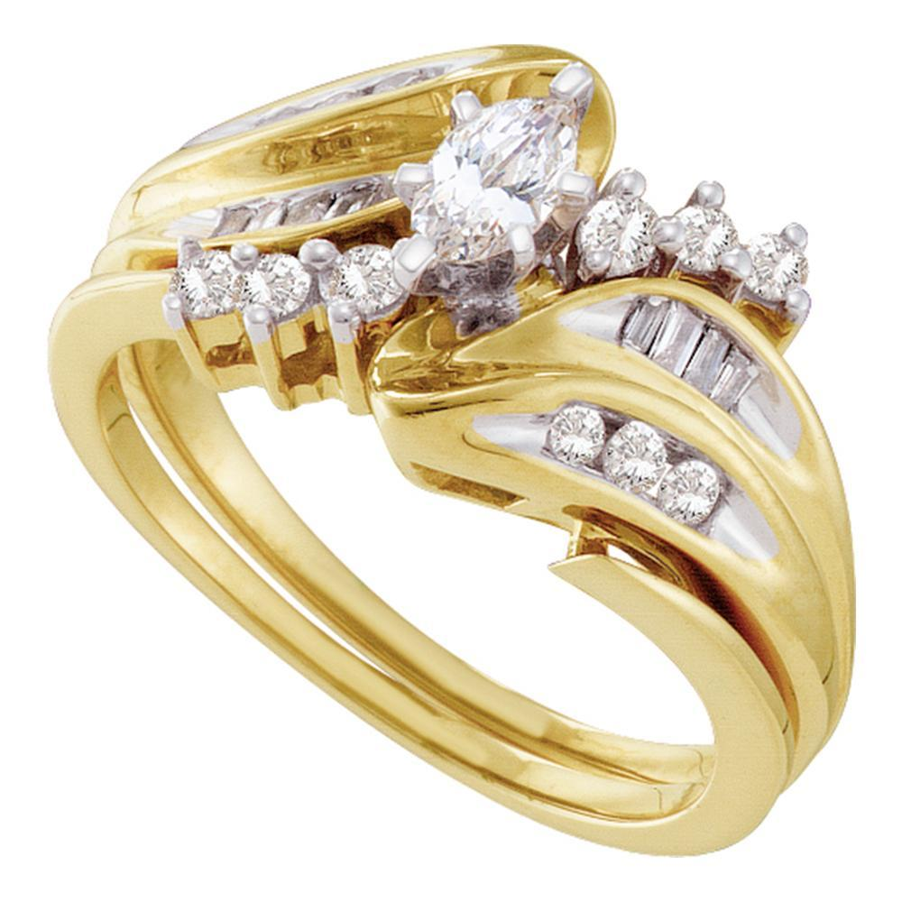 14kt Yellow Gold Womens Marquise Diamond Solitaire Bridal Wedding Engagement Ring Band Set 1/2 Cttw