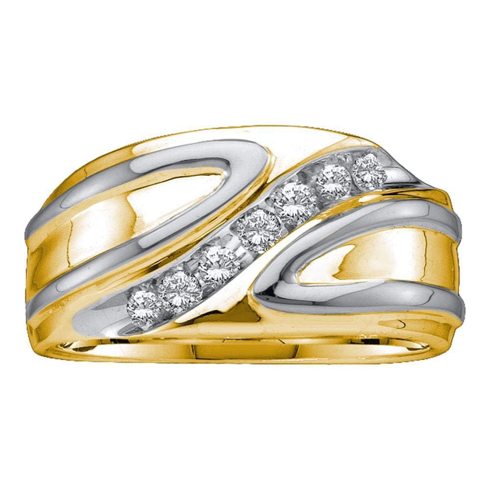 10kt Two-tone Gold Mens Round Diamond Diagonal Row Band Ring 1/4 Cttw