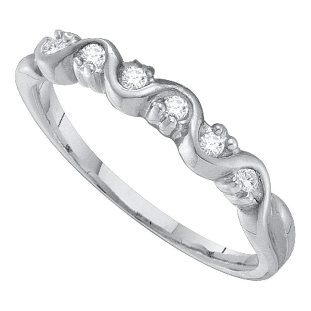 10kt White Gold Womens Round Diamond Wavy Band Ring 1/10 Cttw