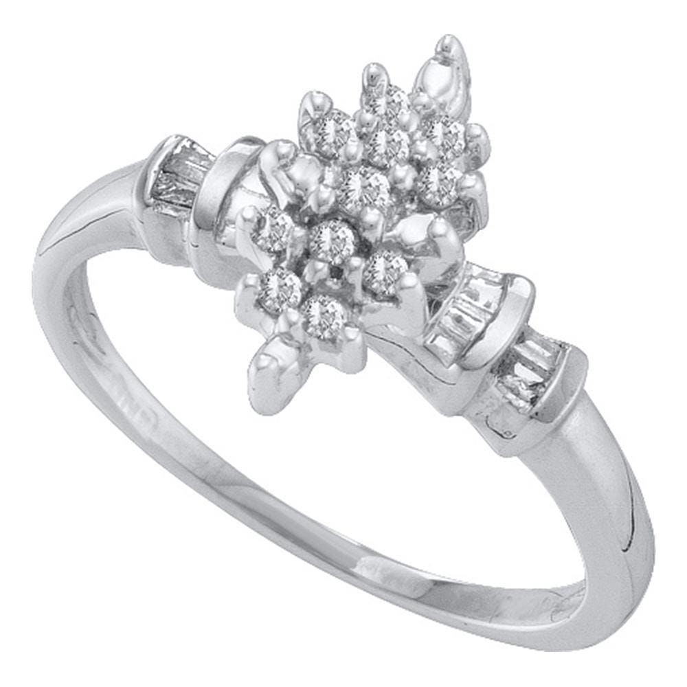 10kt White Gold Womens Round Prong-set Diamond Marquis-shape Cluster Ring 1/6 Cttw