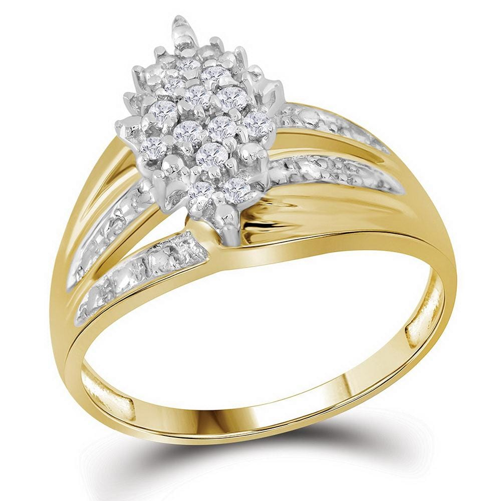 10kt Yellow Gold Womens Round Prong-set Diamond Oval Cluster Ring 1/5 Cttw