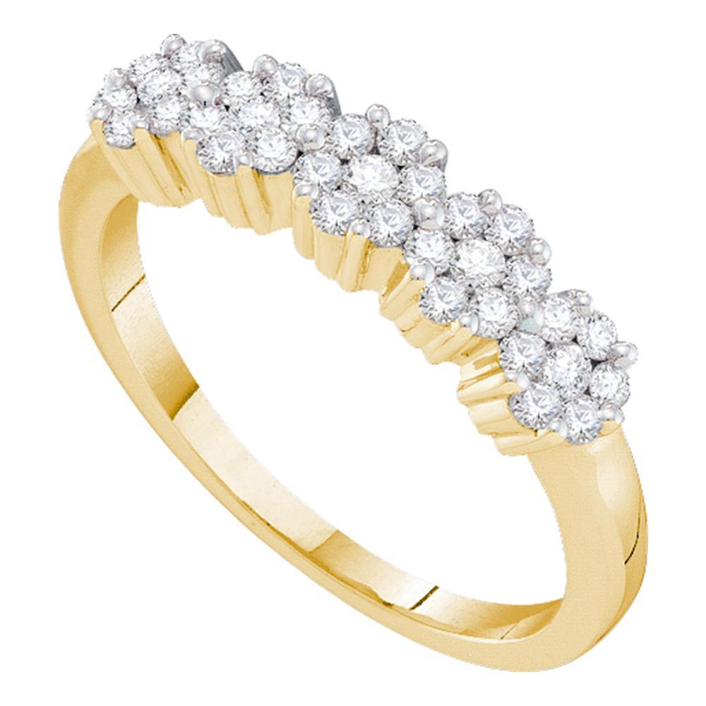 14kt Yellow Gold Womens Round Diamond Flower Cluster Band Ring 1/2 Cttw