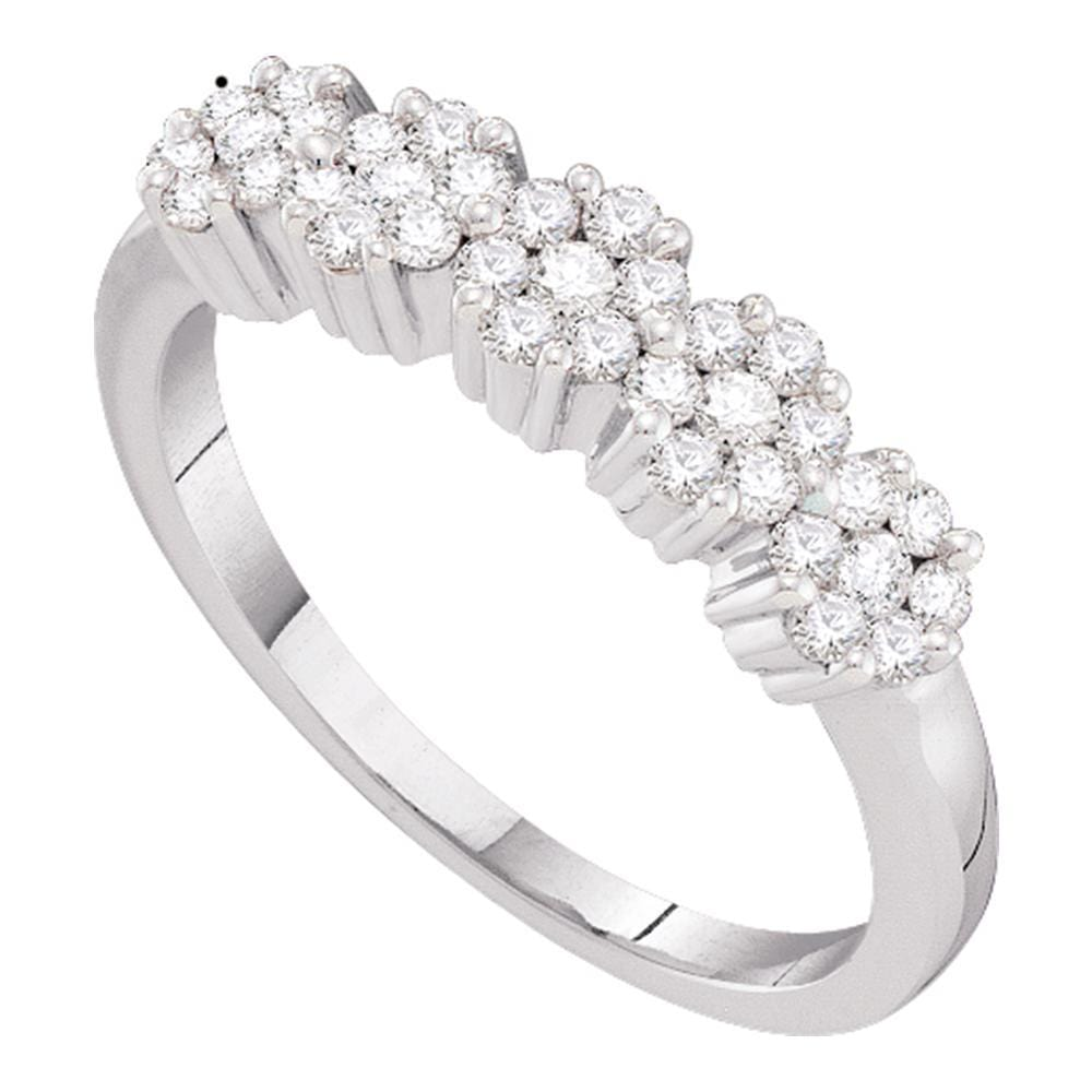 14kt White Gold Womens Round Diamond Flower Cluster Band Ring 1/2 Cttw