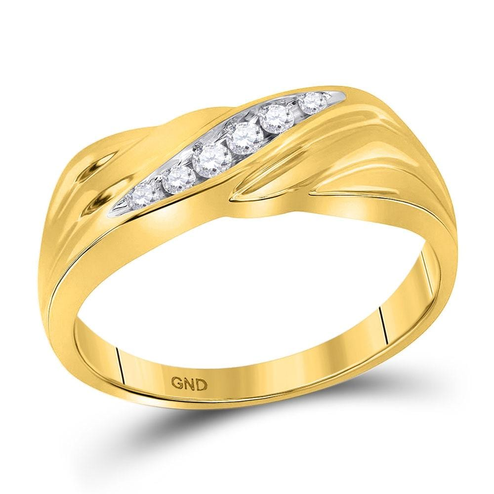 10kt Yellow Gold Mens Round Diamond Single Row Wedding Band Ring 1/8 Cttw