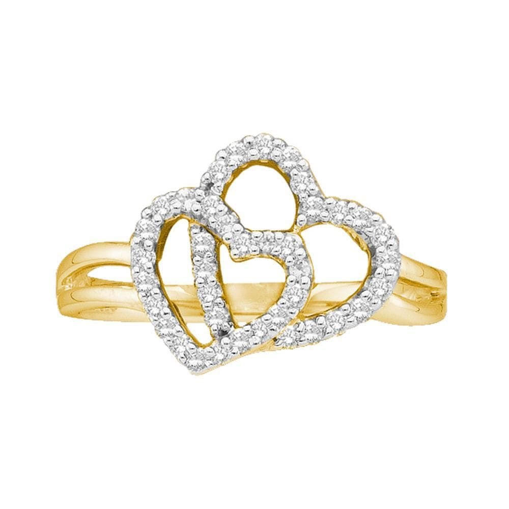 14kt Yellow Gold Womens Round Diamond Double Heart Ring 1/4 Cttw