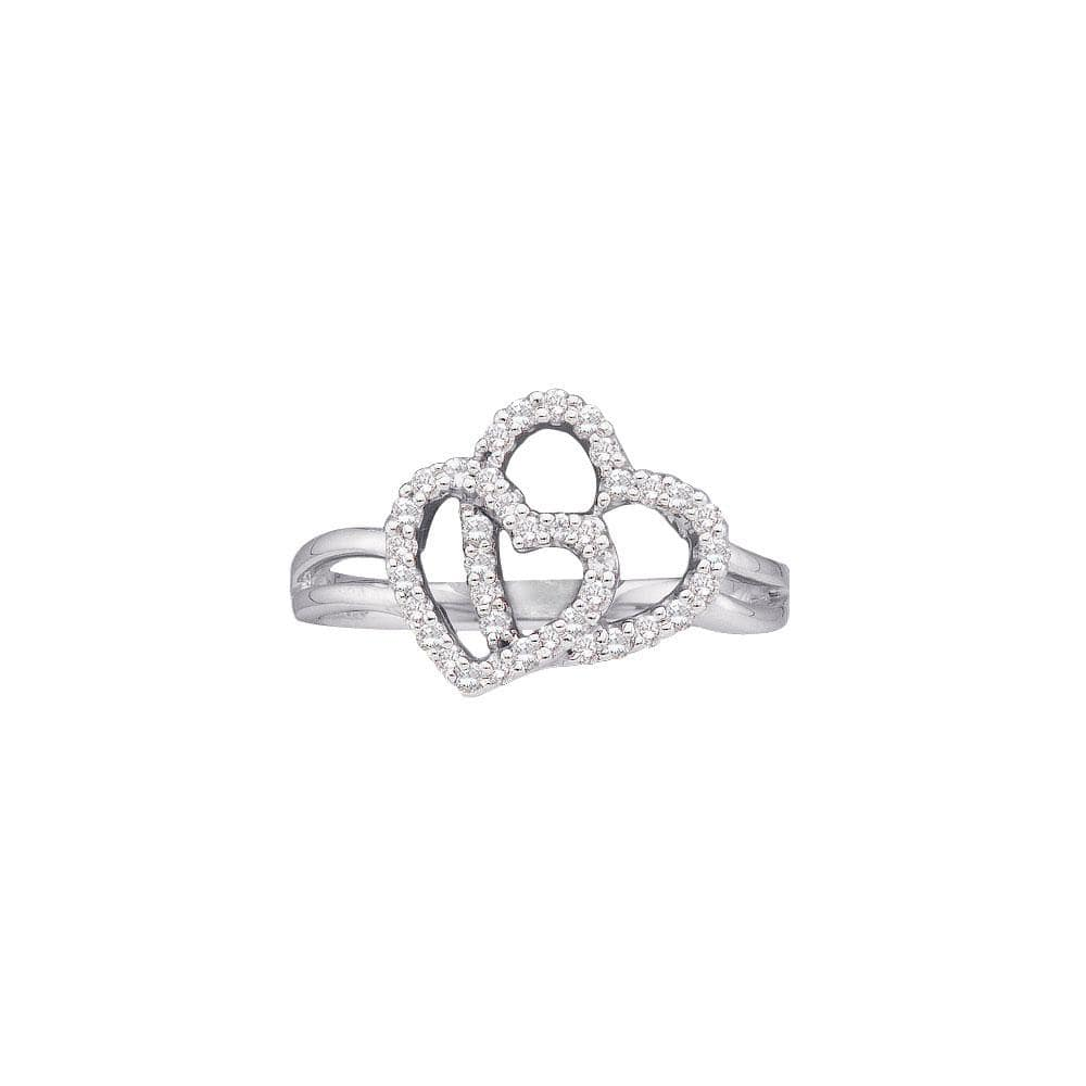 14kt White Gold Womens Round Diamond Double Heart Ring 1/4 Cttw