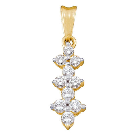 14kt Yellow Gold Womens Round Diamond Small Triple Cluster Dangle Pendant 1/4 Cttw