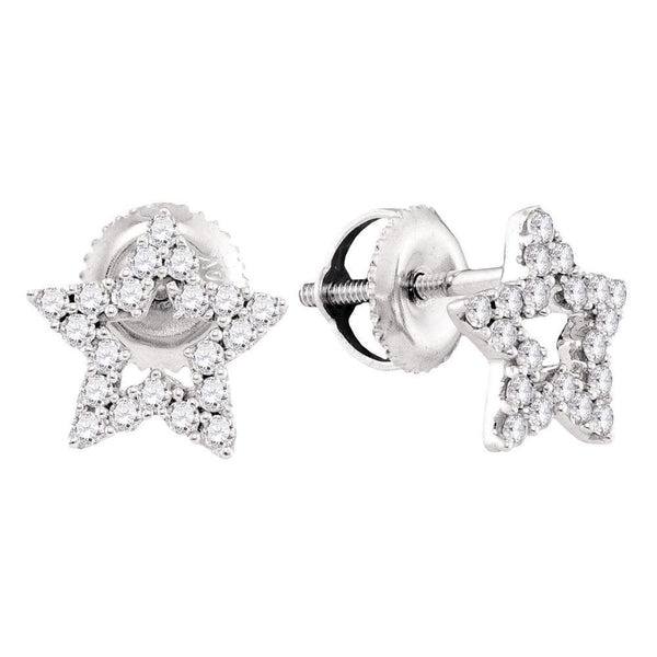 14kt White Gold Womens Round Diamond Star Stud Earrings 1/3 Cttw