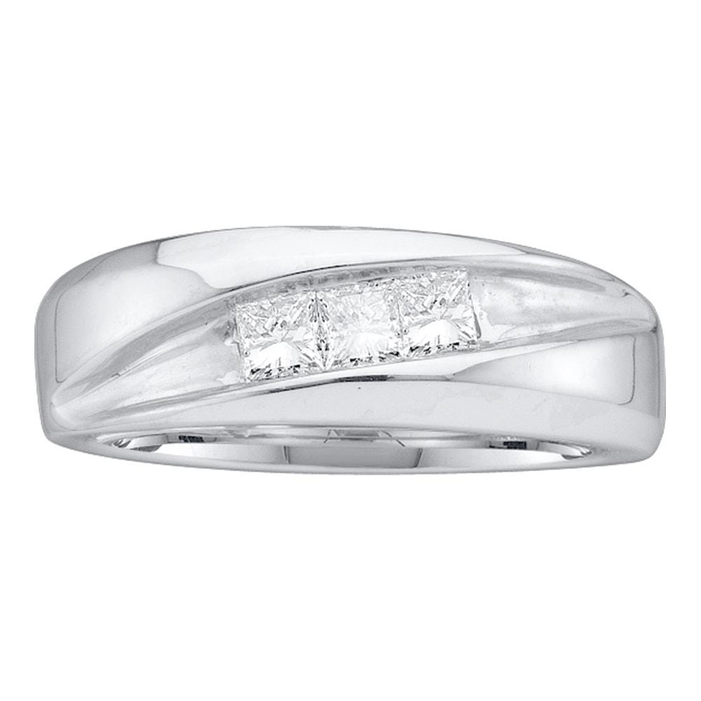 14kt White Gold Mens Princess Diamond Diagonal Groove Wedding Band 1/2 Cttw