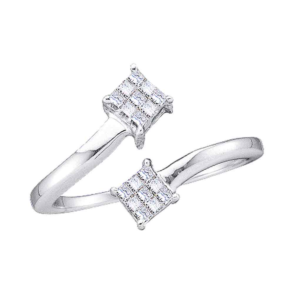 14kt White Gold Womens Princess Diamond Cluster Bypass Bisected Ring 1/5 Cttw