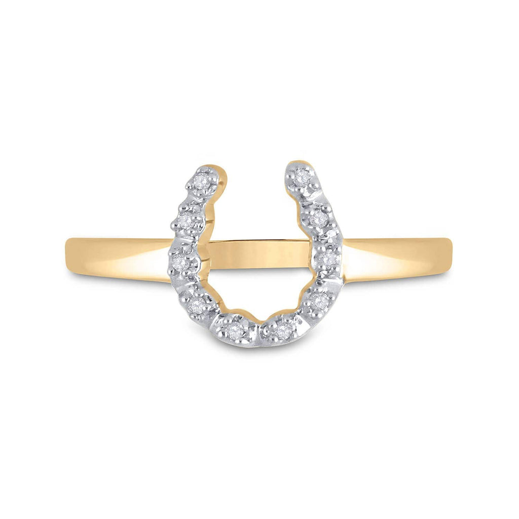 10kt Yellow Gold Womens Round Diamond Lucky Horseshoe Ring 1/20 Cttw