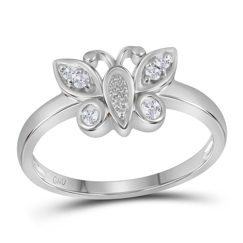 10kt White Gold Womens Round Diamond Butterfly Bug Cluster Ring 1/10 Cttw