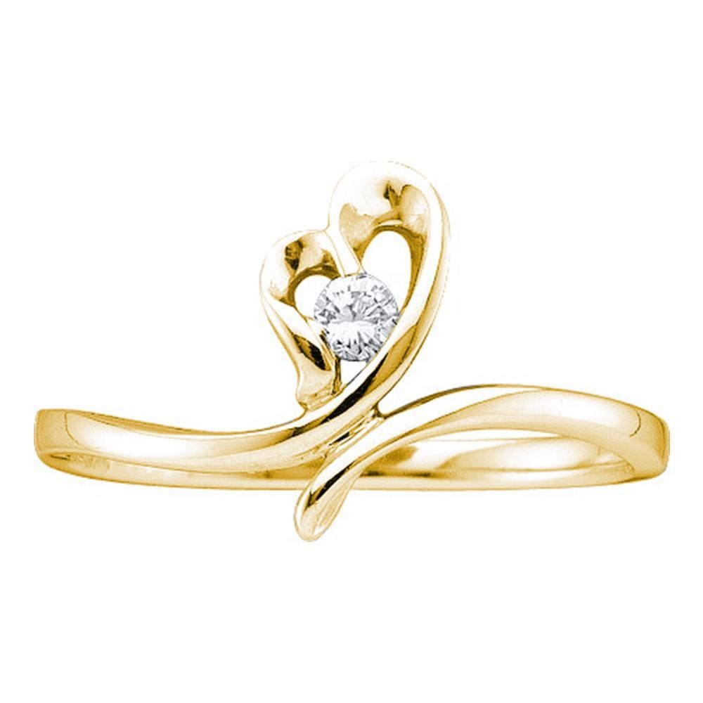 14kt Yellow Gold Womens Round Diamond Heart Love Promise Bridal Ring 1/12 Cttw