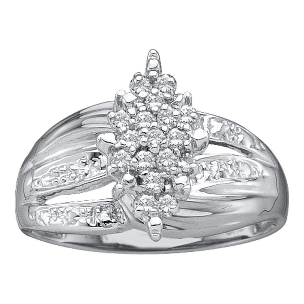 14kt White Gold Womens Round Prong-set Diamond Oval Cluster Ring 1/5 Cttw