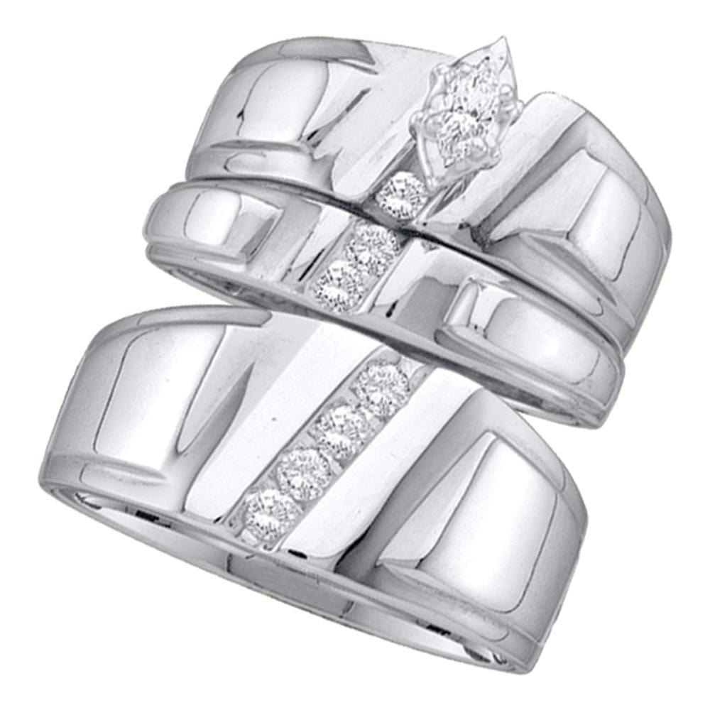 14k White Gold Marquise Diamond Solitaire Womens Mens Matching Trio Wedding Bridal Set 1/4 Cttw