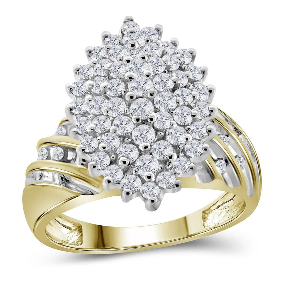 10kt Yellow Gold Womens Round Diamond Oval Cluster Ring 1.00 Cttw