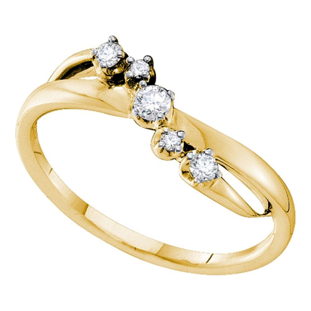 14kt Yellow Gold Womens Round Diamond 5-stone Crossover Band Ring 1/6 Cttw