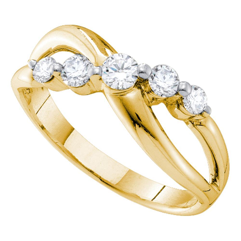 14kt Yellow Gold Womens Round Diamond 5-stone Crossover Band Ring 1/2 Cttw