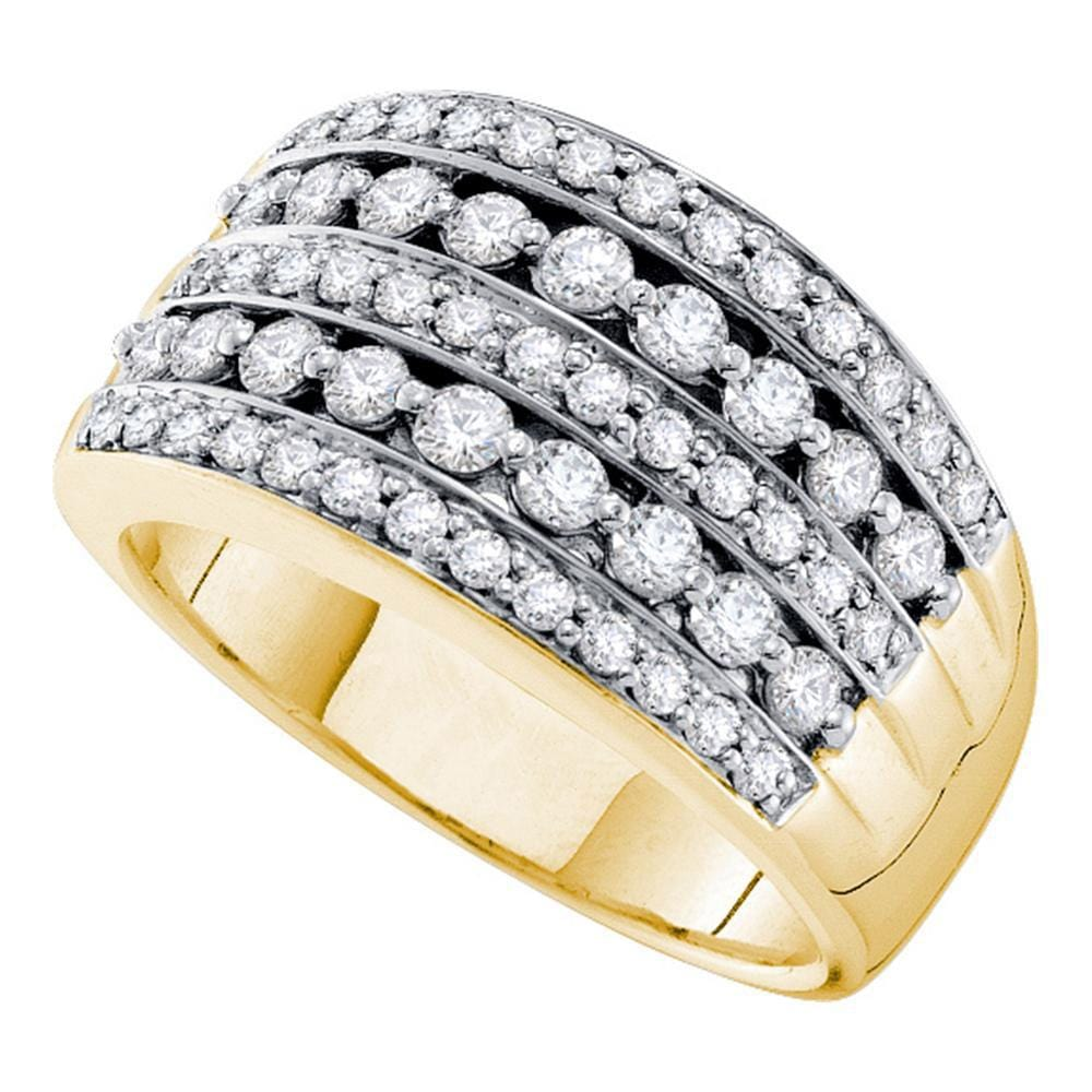14kt Yellow Gold Womens Round Diamond Striped Fashion Band Ring 1 Cttw