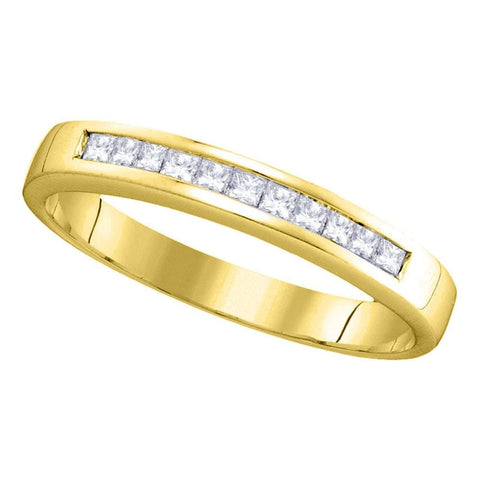 14kt Yellow Gold Womens Princess Channel-set Diamond Single Row Wedding Band 1/4 Cttw - Size 8