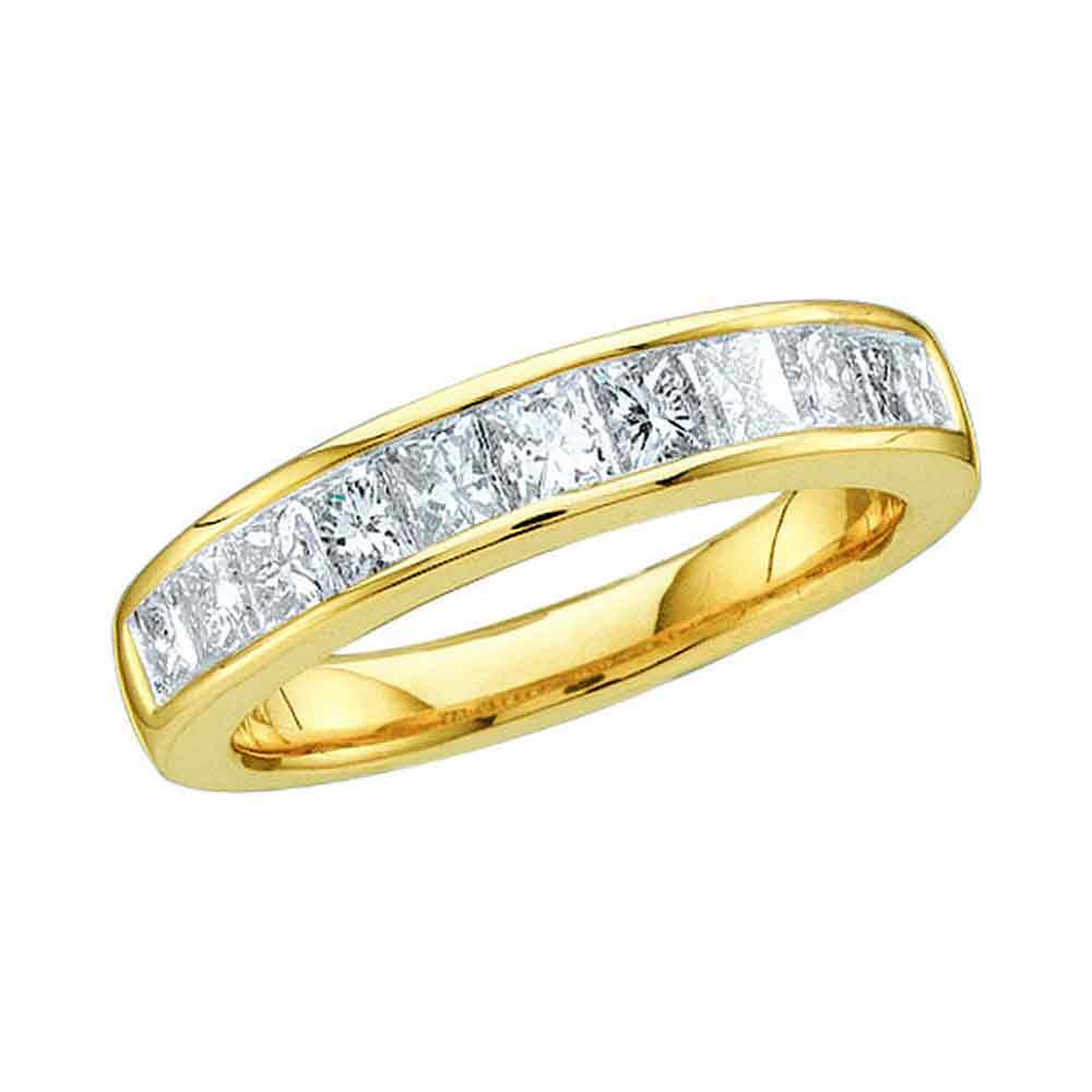 14kt Yellow Gold Womens Princess Channel-set Diamond Single Row Wedding Band 1/2 Cttw - Size 9