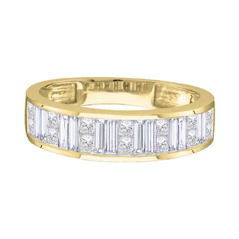14kt Yellow Gold Womens Princess Baguette Diamond Wedding Band 1/4 Cttw - Size 8