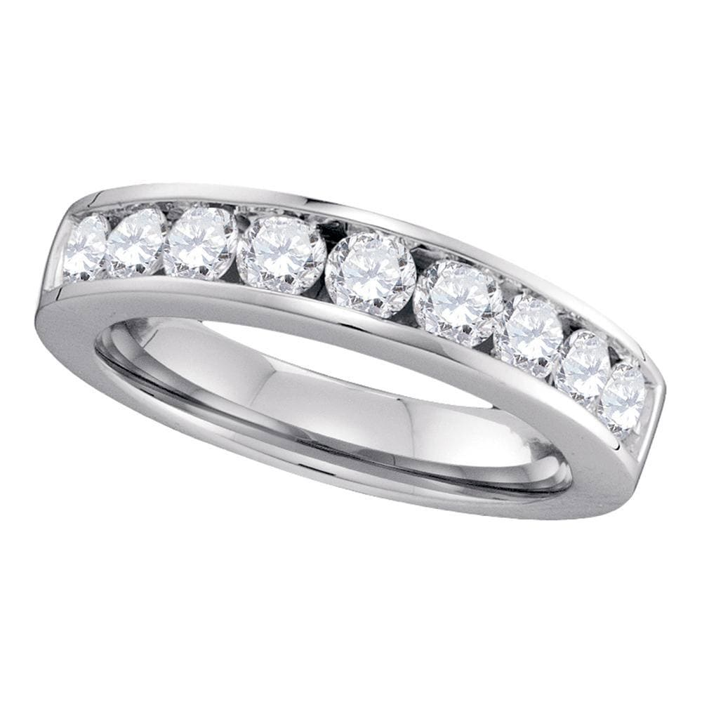 14kt White Gold Womens Round Channel-set Diamond Single Row Wedding Band 1 Cttw - Size