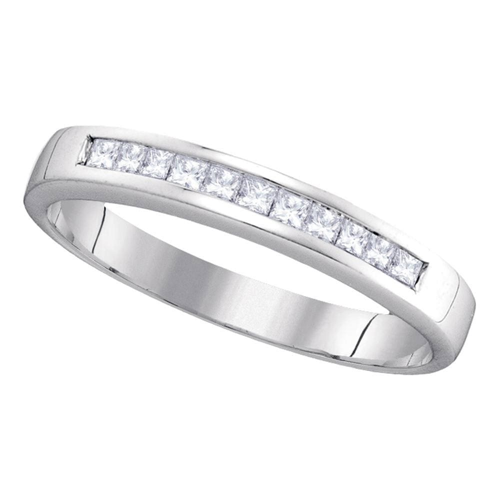 14kt White Gold Womens Princess Diamond Wedding Channel Set Band 1/4 Cttw Size