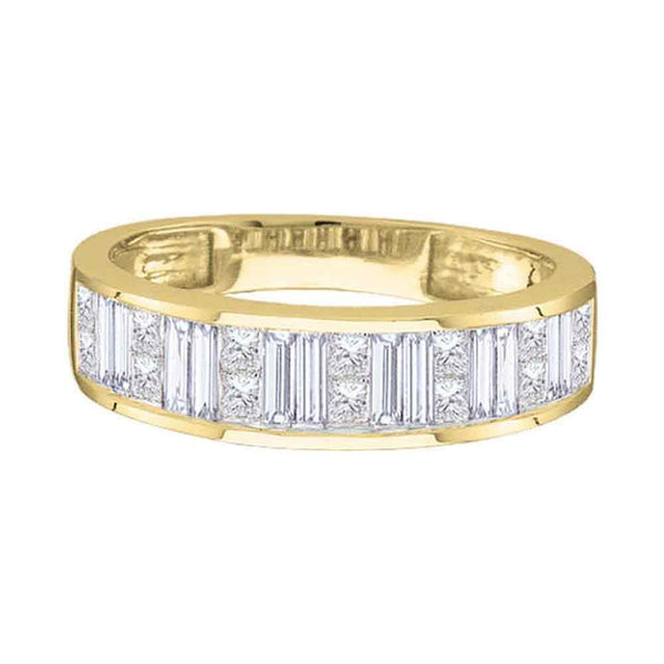 14kt Yellow Gold Womens Princess Baguette Channel-set Diamond Wedding Band 1/2 Cttw - Size 5